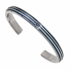 Titanium Triple Grooved Blue Anodized Cuff with Blue Sapphire