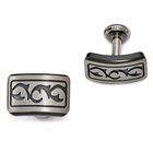Edward Mirell Tribal Gray and Black Titanium Cufflinks