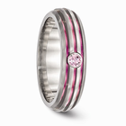 Triple Grooved Pink Anodized & Pink Sapphire Ring