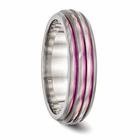 Triple Grooved Pink Anodized Ring