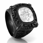 EM LACE Black Titanium & Sterling Silver Signet Ring