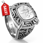 EM LACE Grey Titanium & Sterling Silver Signet Ring