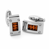 EM Leather & Titanium Cufflinks