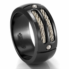 EM SPORT Ring - Black Titanium & Silver Ring