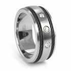FENTON TRITON Grey Titanium Wedding Band with Black Cable and Diamonds
