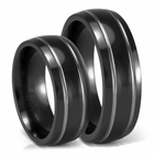 His and Hers 7mm Black Titanium Grooved Wedding Bands