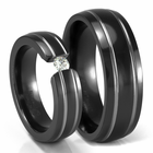 Grooved Black Ti Rings Set by Edward Mirell