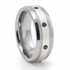 KIBACHI Tungsten, Sterling Silver and Black Diamond Ring by Heavy Stone