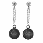 LACE Black Titanium Round Drop Earrings by Edward Mirell