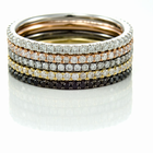 Ladies 14K Gold & Diamond Eternity Stackable Bands - SET of 5 by Belloria
