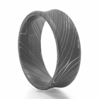 LASHBROOK DESIGNS Damascus Steel Concave Ring Onslaught