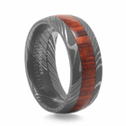 LASHBROOK DESIGNS Damascus Steel Ring With Wood Inlay - Arbor