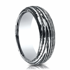 Mens 7.5mm Cobalt Ring With Tree Bark Design