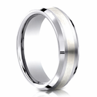 Mens 7mm Cobalt Ring With Silver Inlay