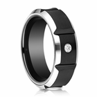 Mens 8mm Black Cobalt Diamond Ring