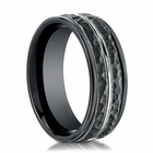 Mens 8mm Black Cobalt Ring With Hammered Finish