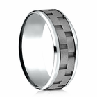 Mens 8mm Cobalt Ring With Link Pattern