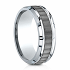Mens 8mm Cobalt Ring With Ridged Inlay