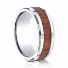Mens 8mm Cobalt Ring With Rosewood Inlay