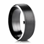 Mens 9mm Black Cobalt Ring  With Gray Edges
