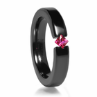 Black Zirconium & Ruby Diagonal Ring