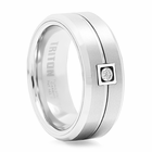 TRITON White Tungsten & Diamond Wedding Band Bute