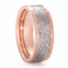 Rose Gold Meteorite Ring With Hammer Finish