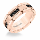 Rose Tungsten & Black Diamonds 8mm Block Design Ring by Triton