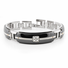 ROYALE Black Titanium, Silver & Diamond Bracelet