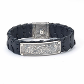 Samuel B Sterling Silver Naga Dragon Leather Bracelet