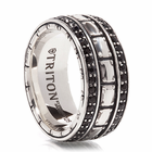 TRITON Sterling Silver Ring With Black Sapphires -Knight