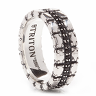 TRITON Sterling Silver Ring With Black Sapphires Relic