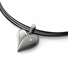 Titanium & Diamond Heart on Elephant Hair Necklace