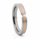 Titanium Ring with 14K Rose Gold & Tension Set Diamond