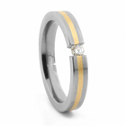 Titanium Ring with 14K Yellow Gold & Tension Set Diamond