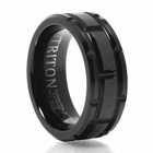TRITON Brick Design Black Tungsten Carbide Wedding Band - Cutlass
