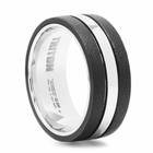 TRITON Black & White Tungsten Carbide Wedding Band - TUX