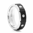 TRITON Black & White Tungsten & Diamond Wedding Band Orion