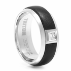 TRITON Black & White Tungsten Ring With Square Diamond Nova