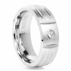 TRITON White Tungsten Carbide & Diamond Wedding Band Apollo