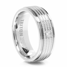 TRITON White Tungsten & Diamond Wedding Band Tarmac
