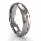 Tungsten Ring with Rose Gold Braid 6mm Ring by Heavy Stone Ring
