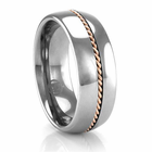 Tungsten Ring with Rose Gold Braid 8mm Ring by Heavy Stone Rings