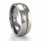 Tungsten Ring with Yellow Gold Braid 8mm Ring by Heavy Stone Rings