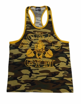 New- World Gym Ringer Camo Tank Top