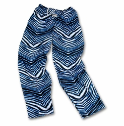 New- Zubaz Pants: Black/Fluorescent Blue Zubaz Zebra Pants
