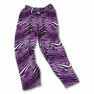 Zubaz Pants: Black/Fluorescent Purple Zubaz Zebra Pants