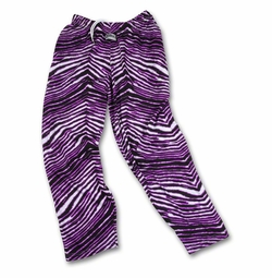 New- Zubaz Pants: Black/Fluorescent Purple Zubaz Zebra Pants
