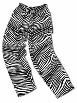 New- Zubaz Pants: Black/Metallic Silver Zubaz Zebra Pants