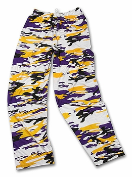 Zubaz Pants: Purple/Gold/Black Camo Zubaz Pants